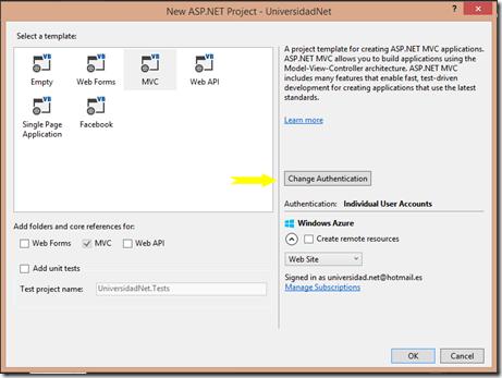 Nuevo MVC con Autenticación Azure