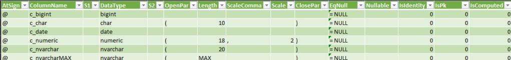 Table variable columns